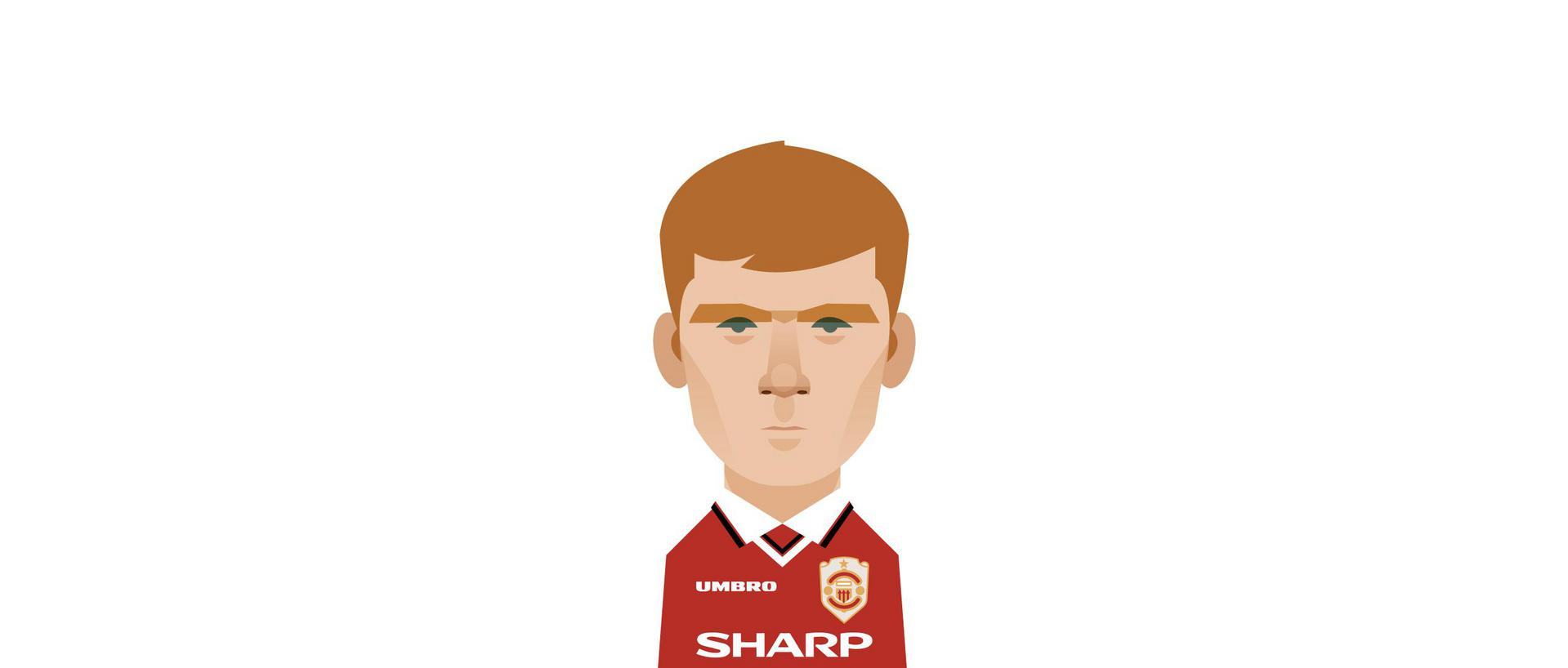 An illustration of Paul Scholes by Stanley Chow.