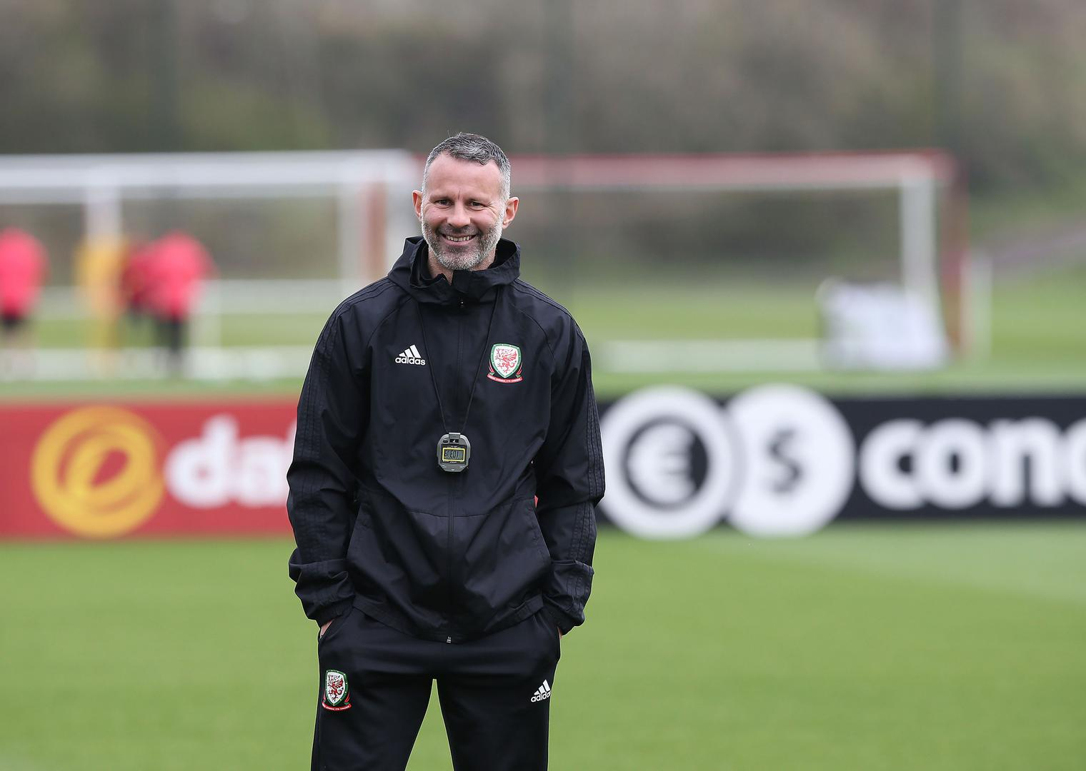 Wales manager Ryan Giggs watching a training session.