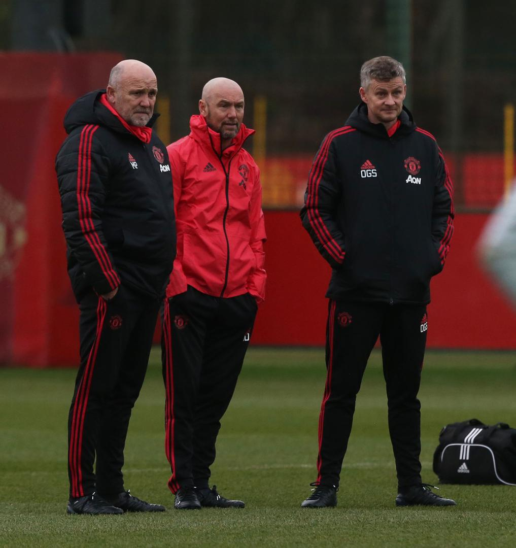 Mike Phelan, Mark Dempsey and Ole Gunnar Solskjaer.
