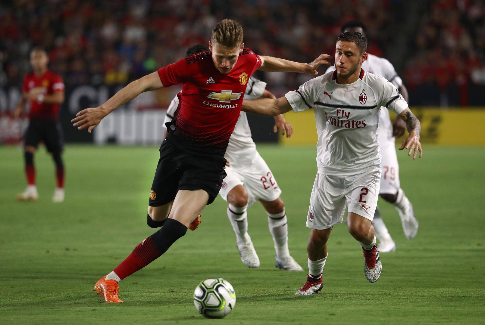 Scott McTominay in action against AC Milan in a pre-season game in 2018.