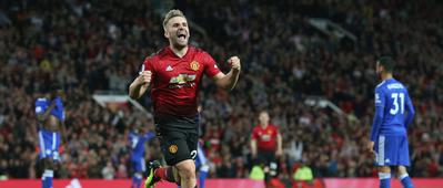 Luke Shaw celebrates his first senior goal in last year's win against Leicester City.