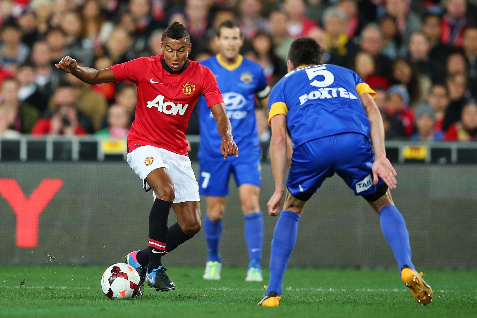 Jesse Lingard in action against the A-League All Stars.