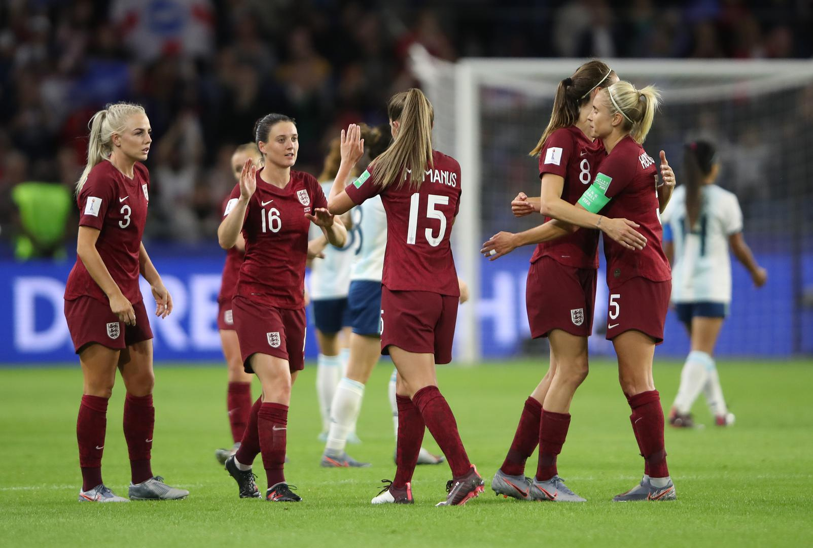 Alex Greenwood and Abbie McManus celebrate England Women's World Cup win over Argentina