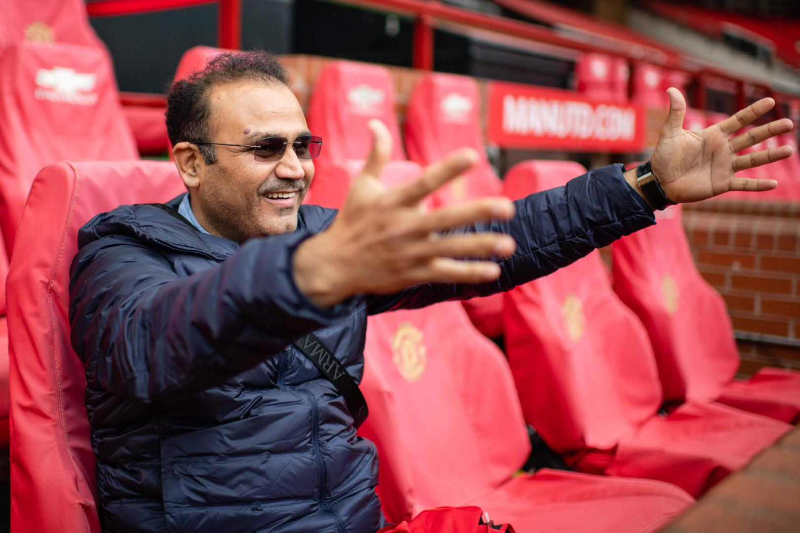 India cricket legend Virender Sehwag at Old Trafford on the Stadium Tour.