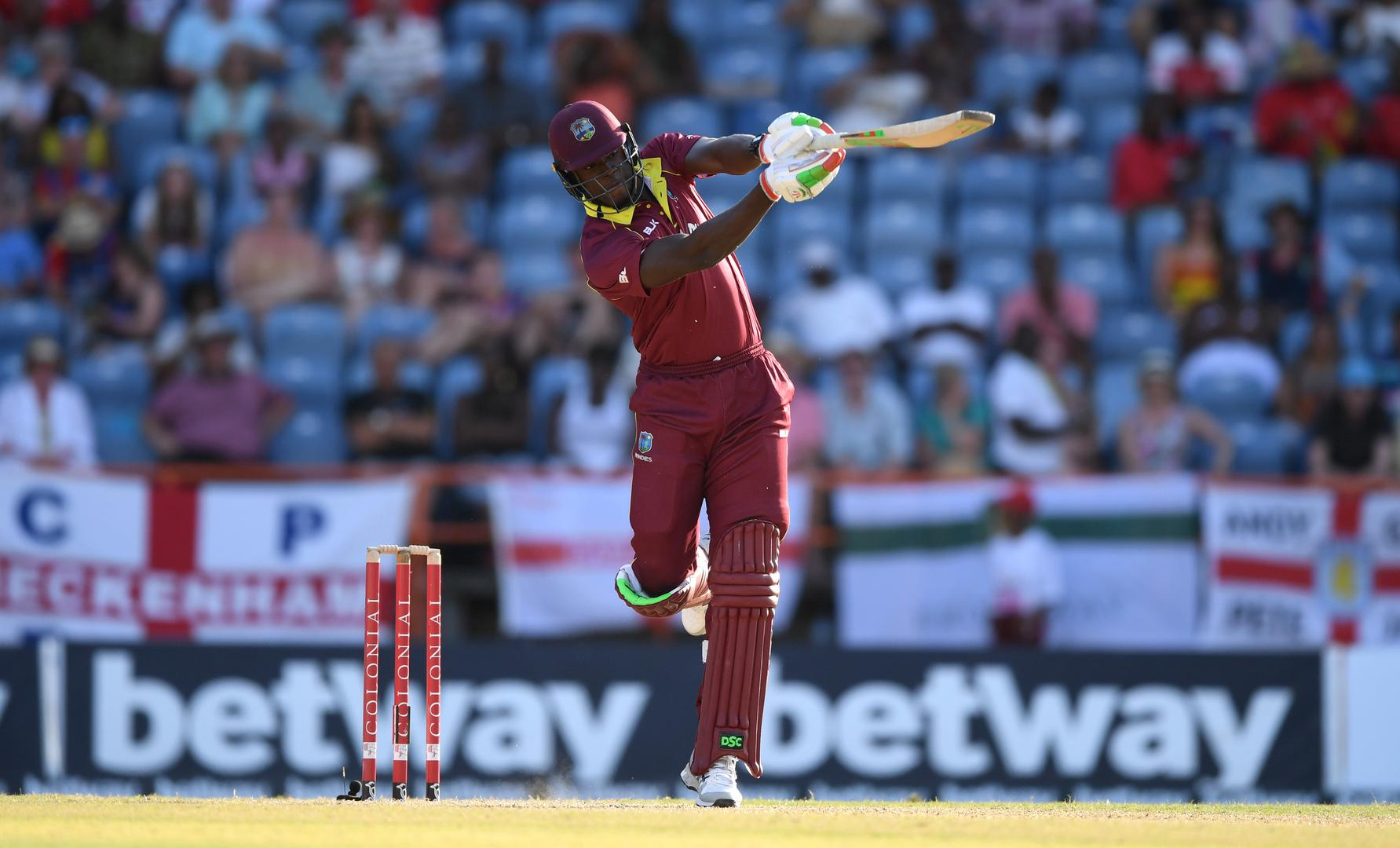 West Indies cricketer Carlos Brathwaite in action.