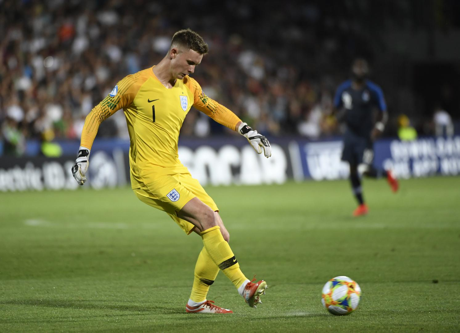 Dean Henderson kicks the ball during England's 2-1 defeat to France in the European Under-21 Championships.,