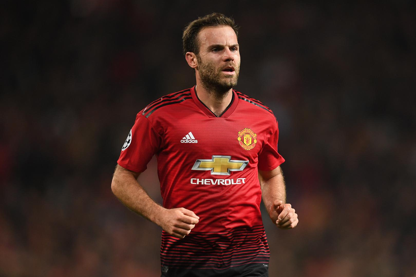 Juan Mata in action for Manchester United in the ,2018/19 season.