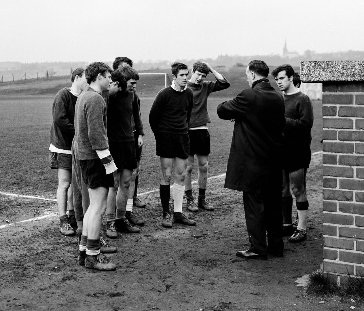 Manchester United squad in training in the 1960s.