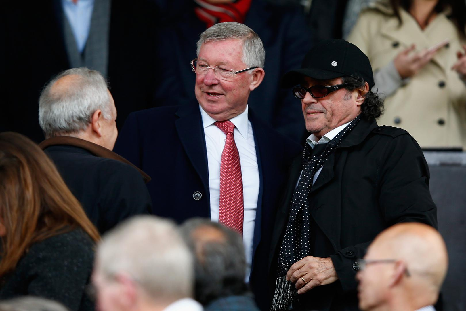 Sir Alex Ferguson and Ian McShane at Old Trafford.