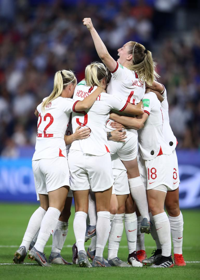 England celebrate scoring a goal against Norway in their Women's World Cup quarter-final.