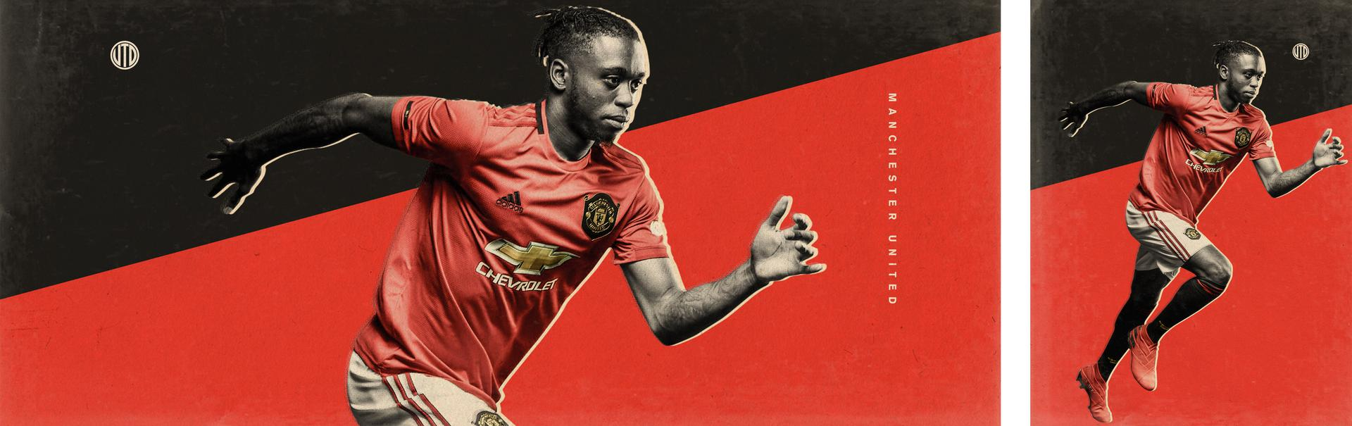 Promotional graphic to announce Aaron Wan-Bissaka as a new signing for Manchester United,