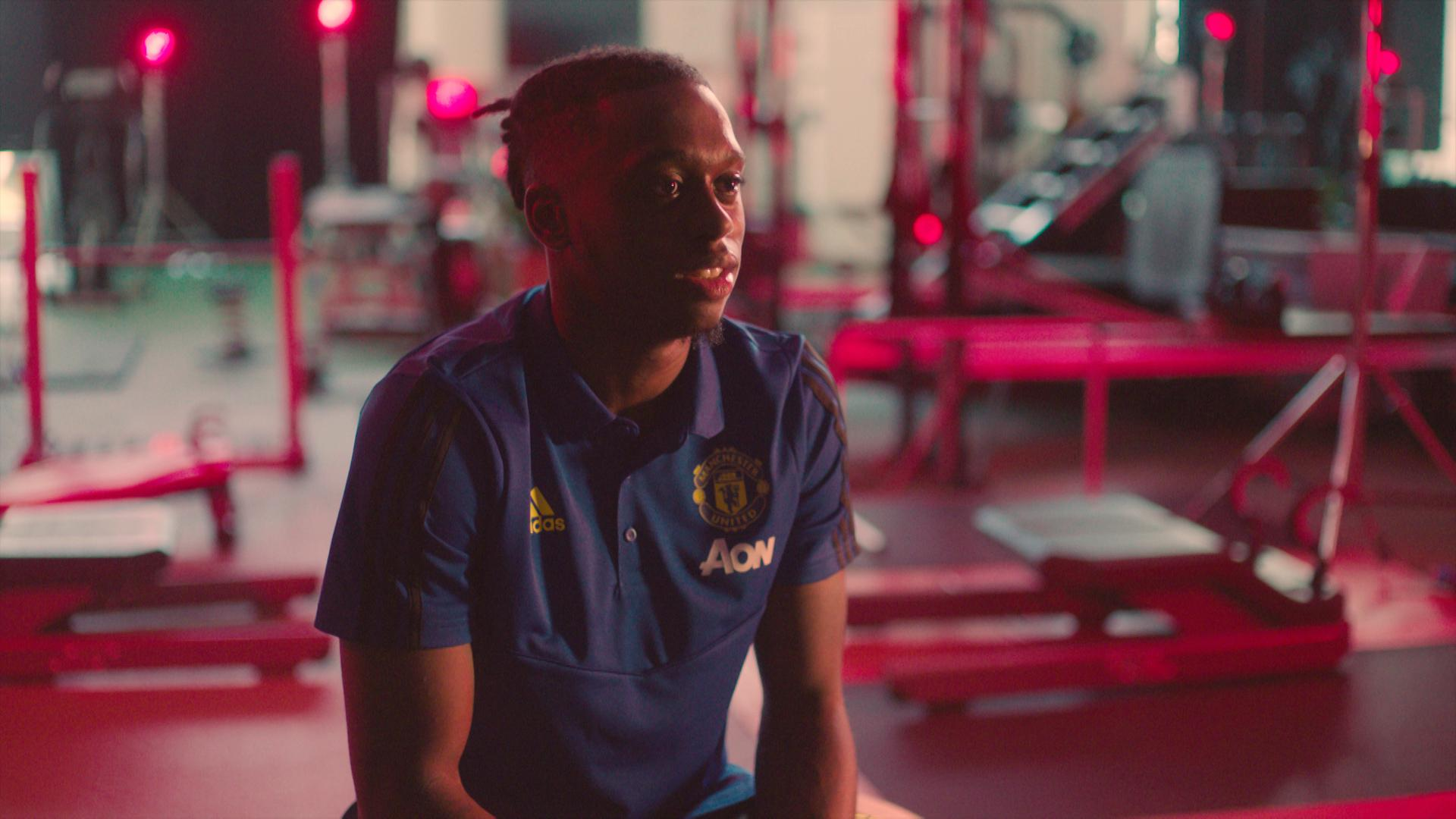 Aaron Wan-Bissaka speaking during his first interview as a Manchester United player.