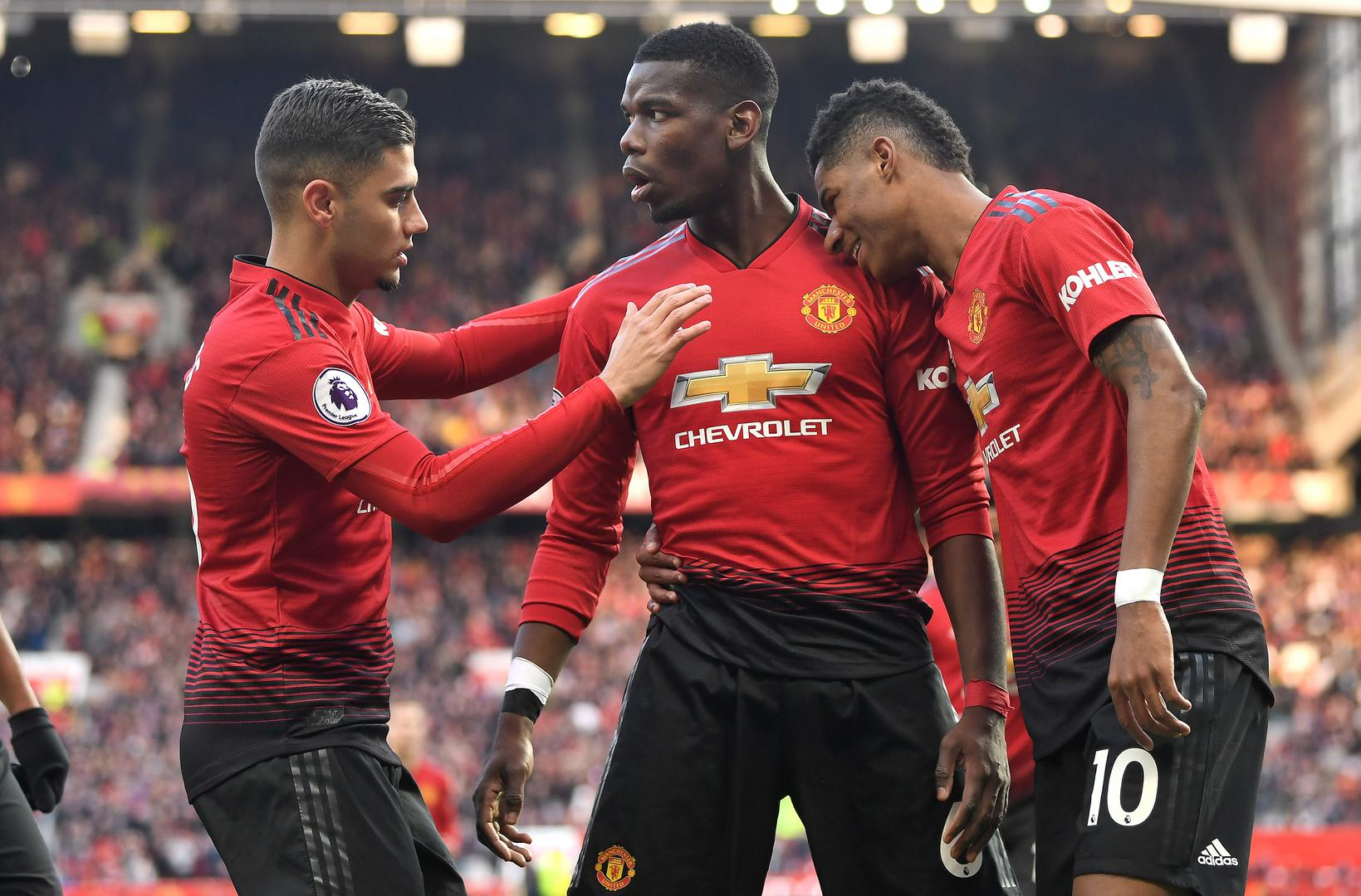 Andreas Pereira, Paul Pogba and Marcus Rashford at Old Trafford.
