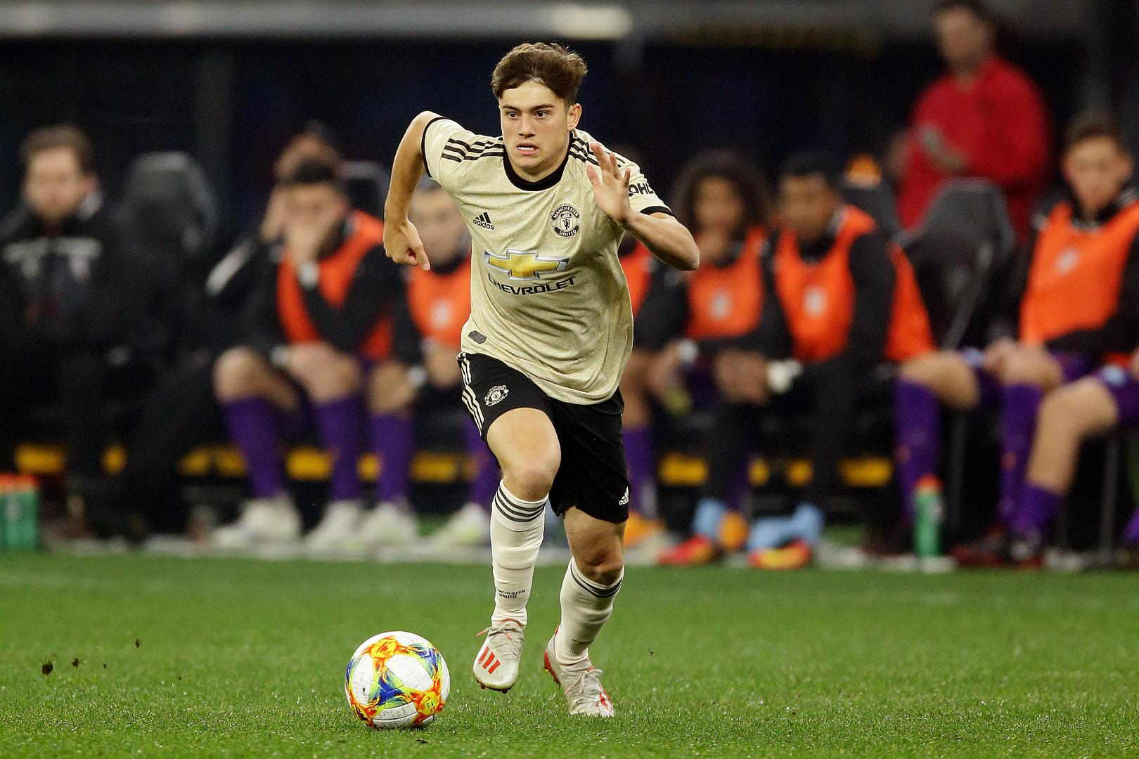 Daniel James races forward with the ball against Perth Glory