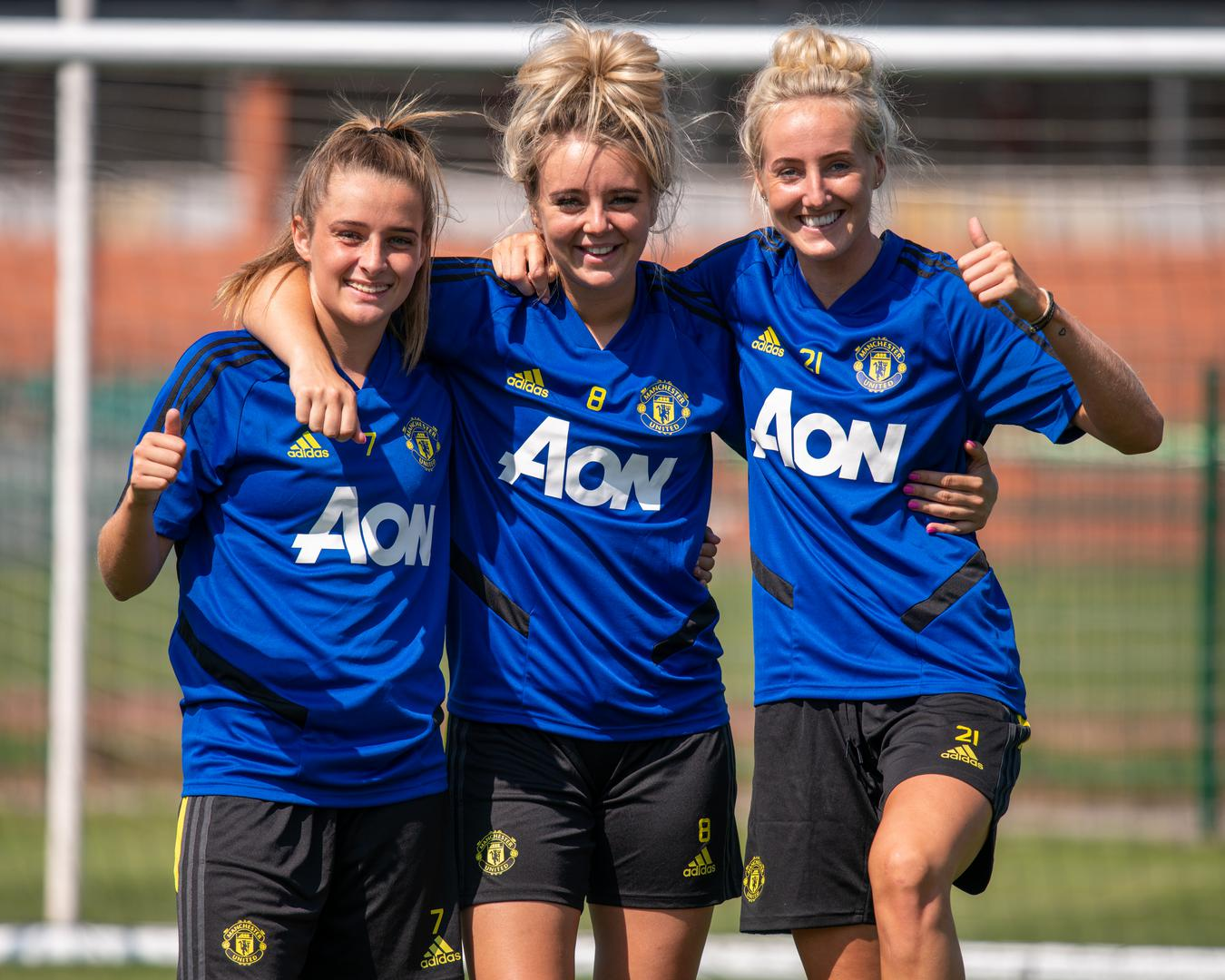 Manchester United Women pose for a photo at the first pre-season training session.