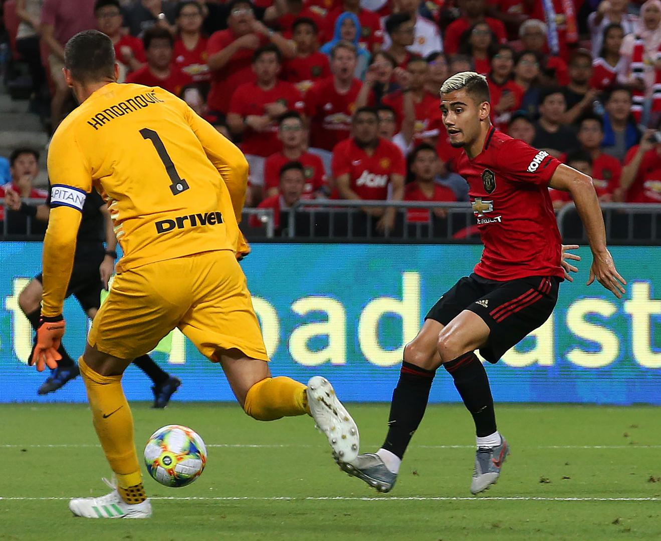 Andreas Pereira tries to find the net against Inter Milan.,