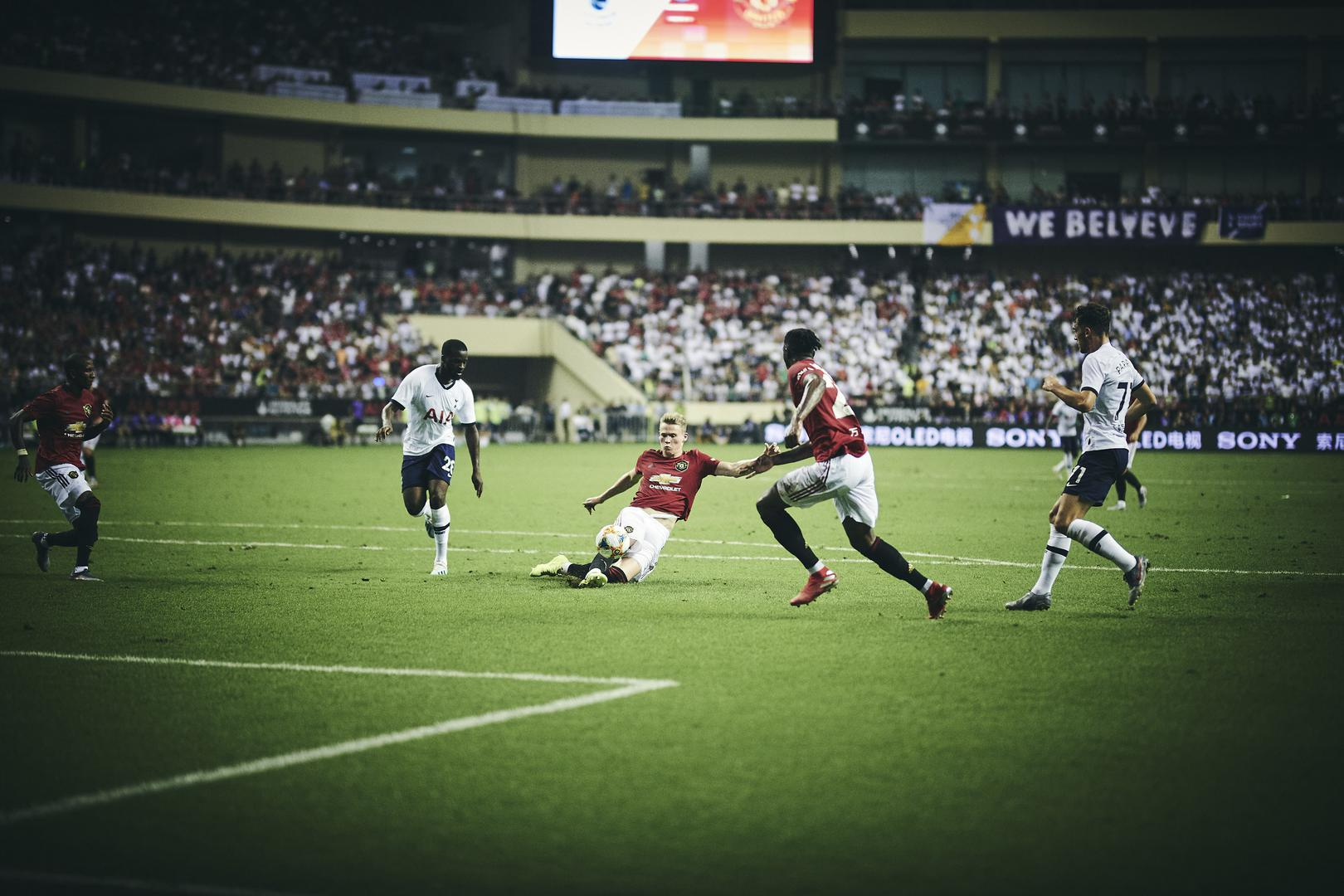 Scott McTominay wins the ball during Manchester United's 2-1 International Champions Cup win against Tottenham Hotspur in Shanghai on 25 July 2019.