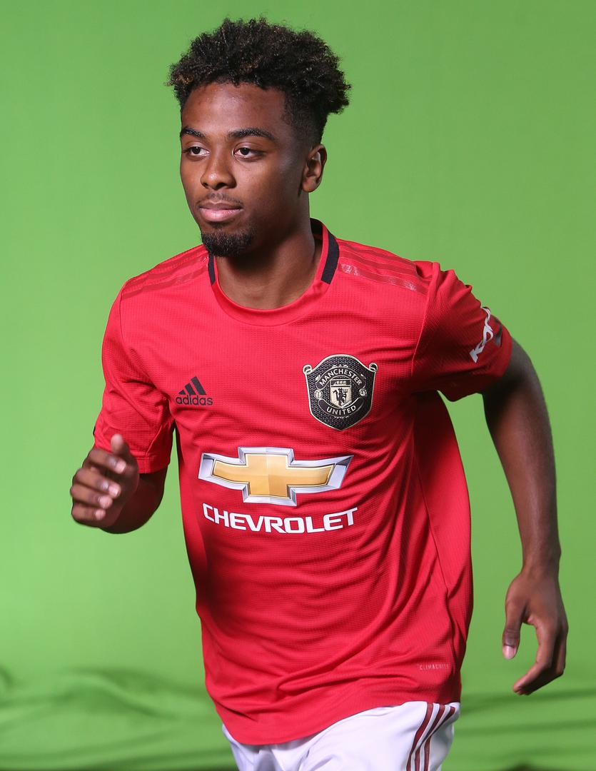 Angel Gomes during a photoshoot for the adidas home kit.,