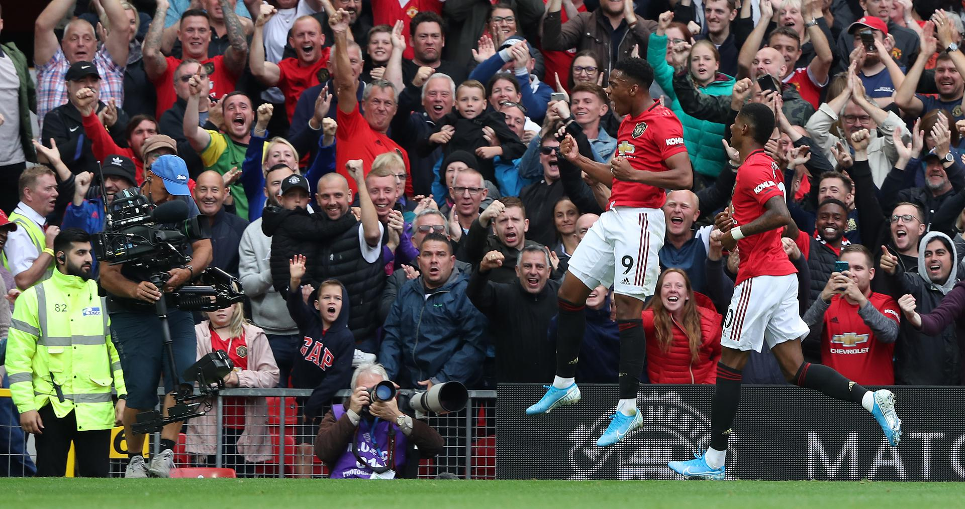 Anthony Martial celebrates his goal against Chelsea