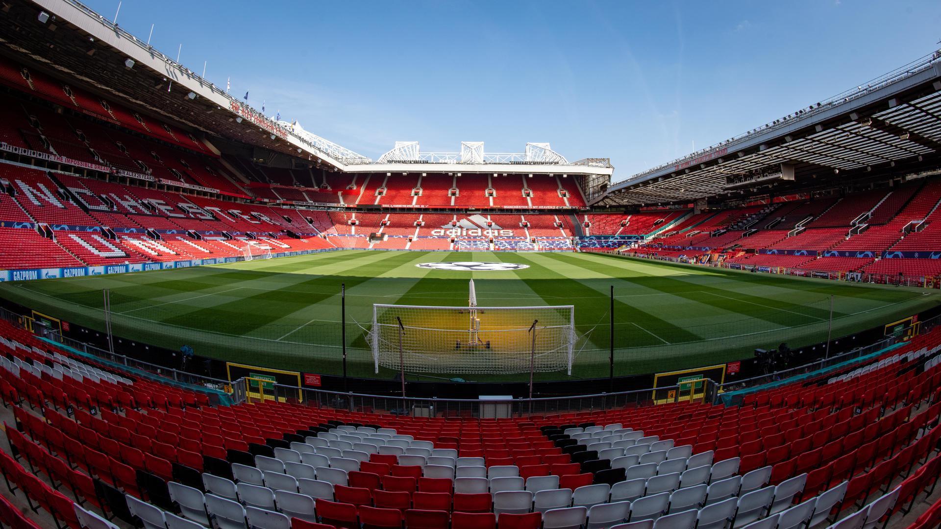 An interior view of Old Trafford.,