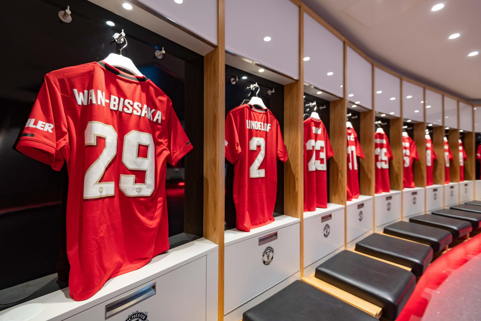 United shirts in the dressing room.