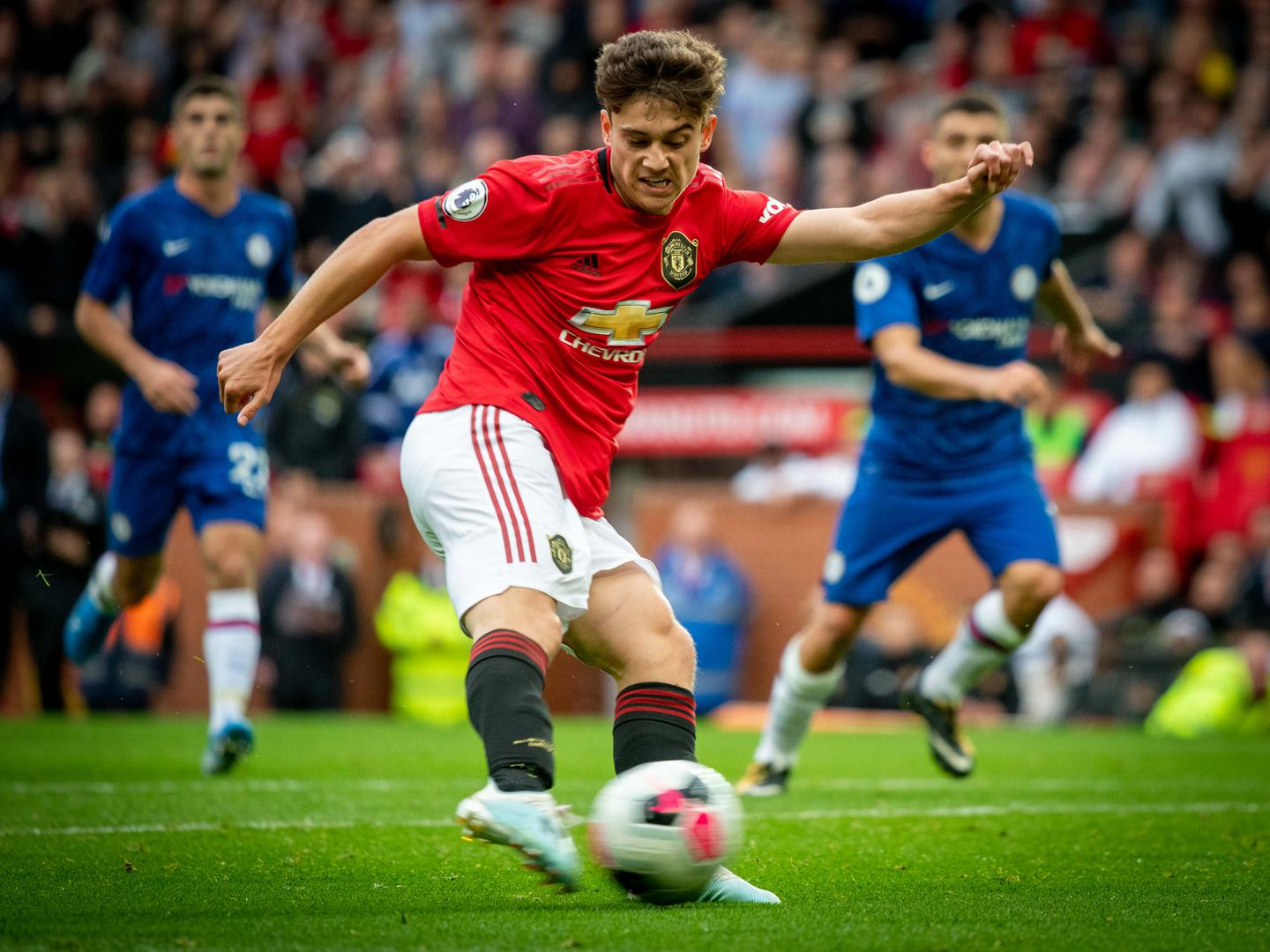 Daniel James scores against Chelsea in the Premier League