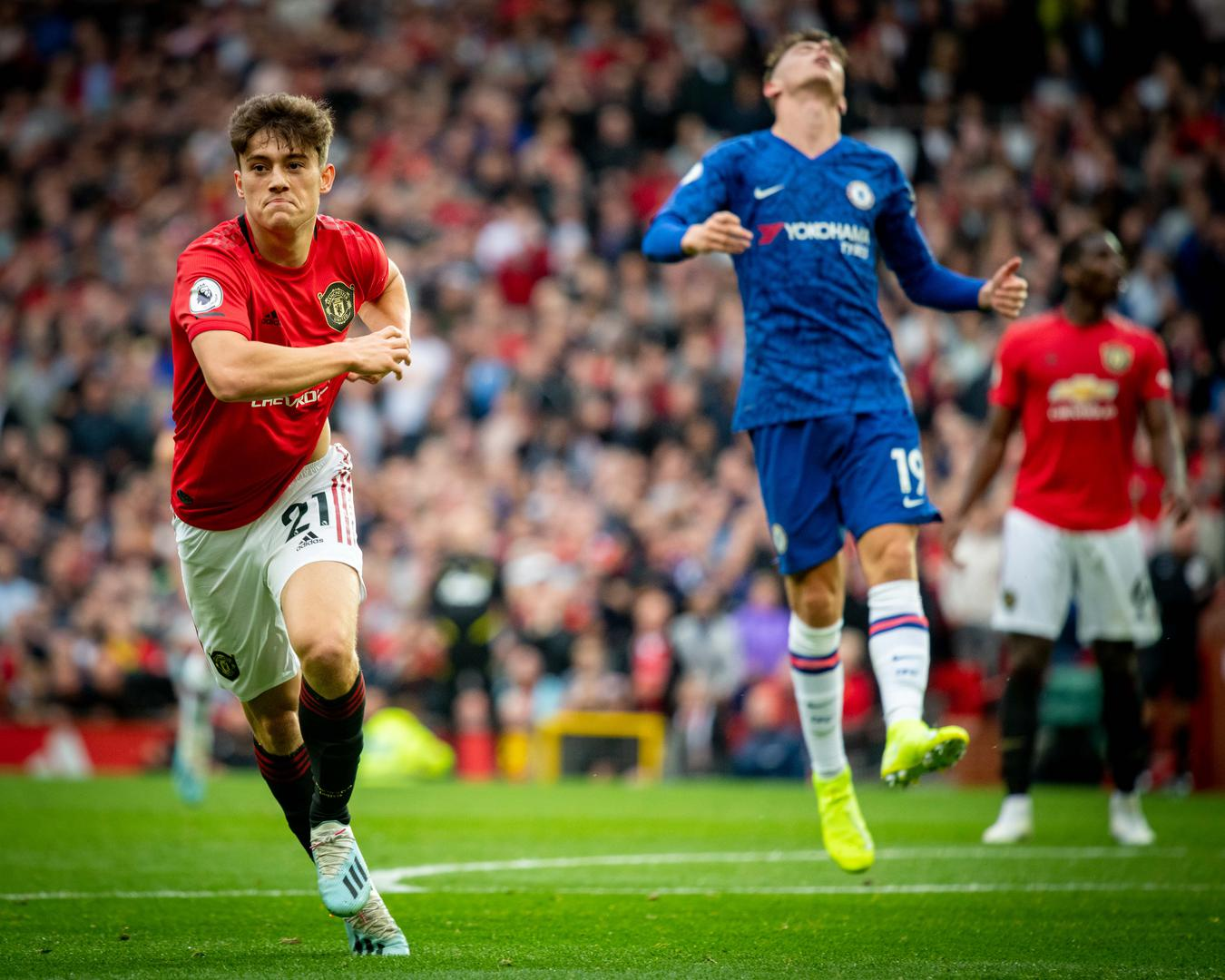 Daniel James wheels away in celebration after scoring on his Manchester United debut during the Premier League match against Chelsea.
