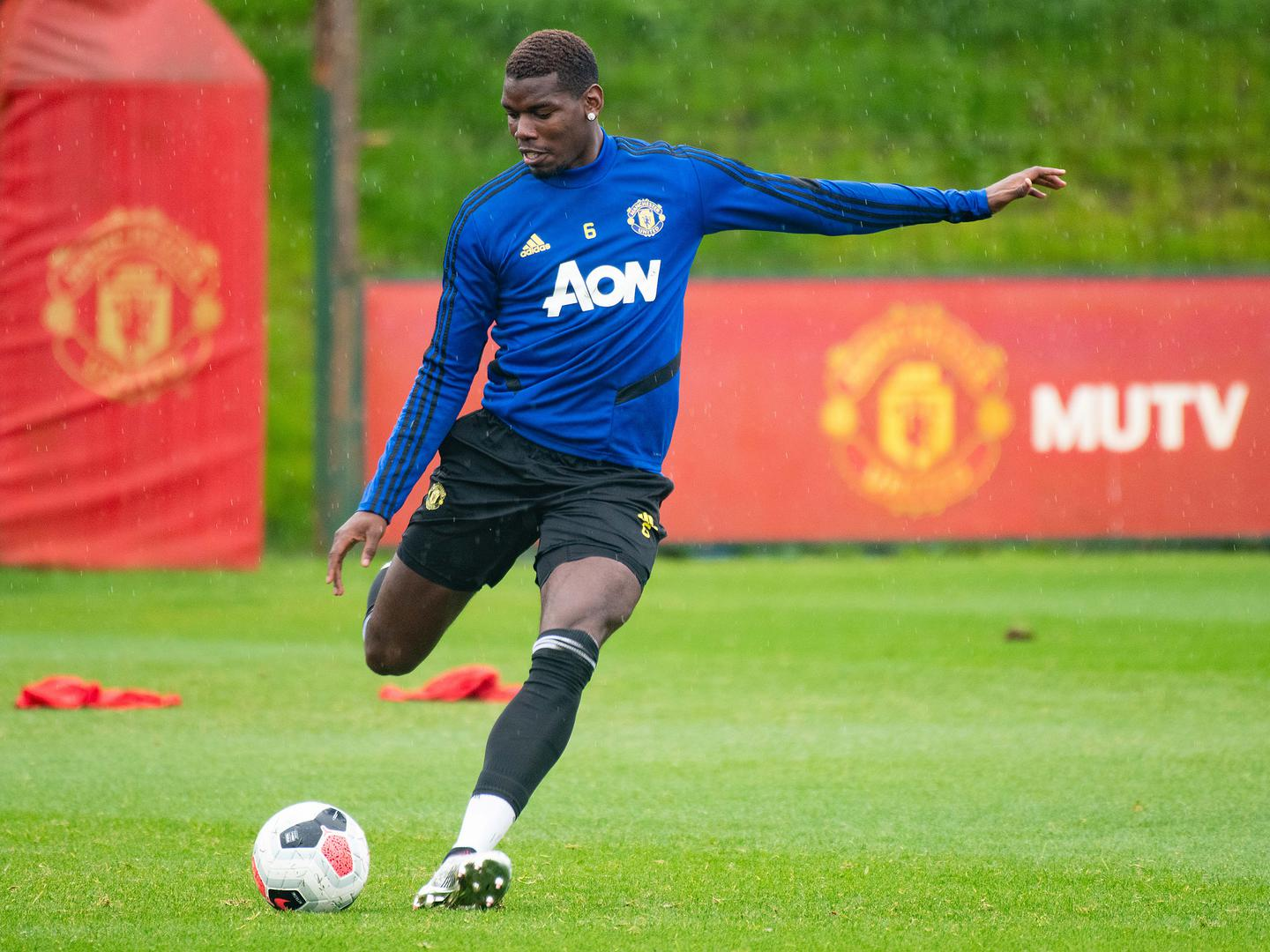Paul Pogba in training for United.