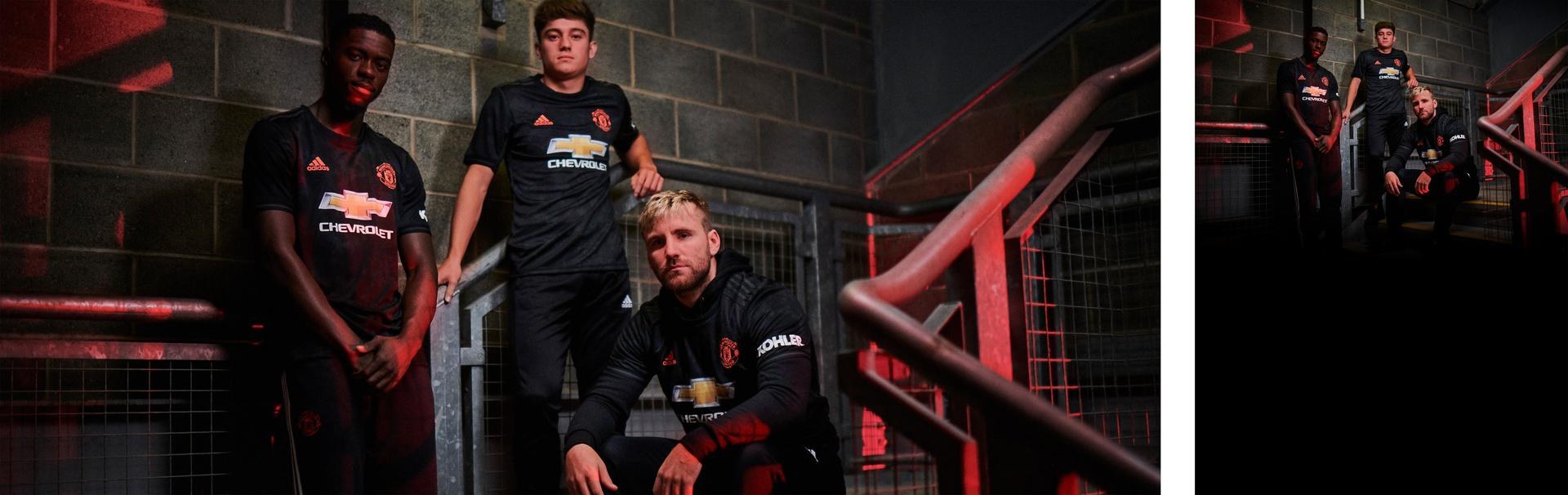Manchester United players model the new adidas third kit for 2019/20