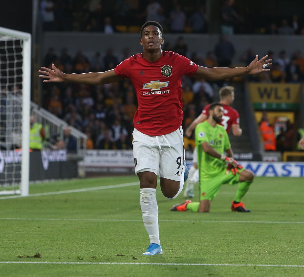 Anthony Martial celebrates scoring for Manchester United against Wolverhampton Wanderers.