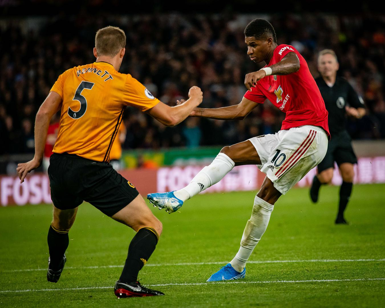 Marcus Rashford in action against Wolves.