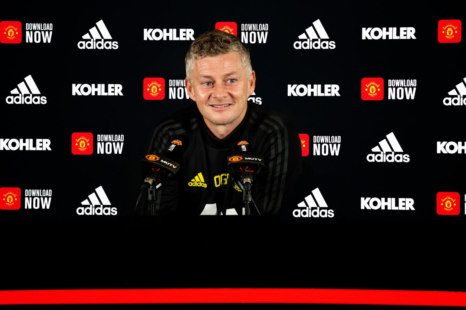 Ole Gunnar Solskjaer speaks to the press.