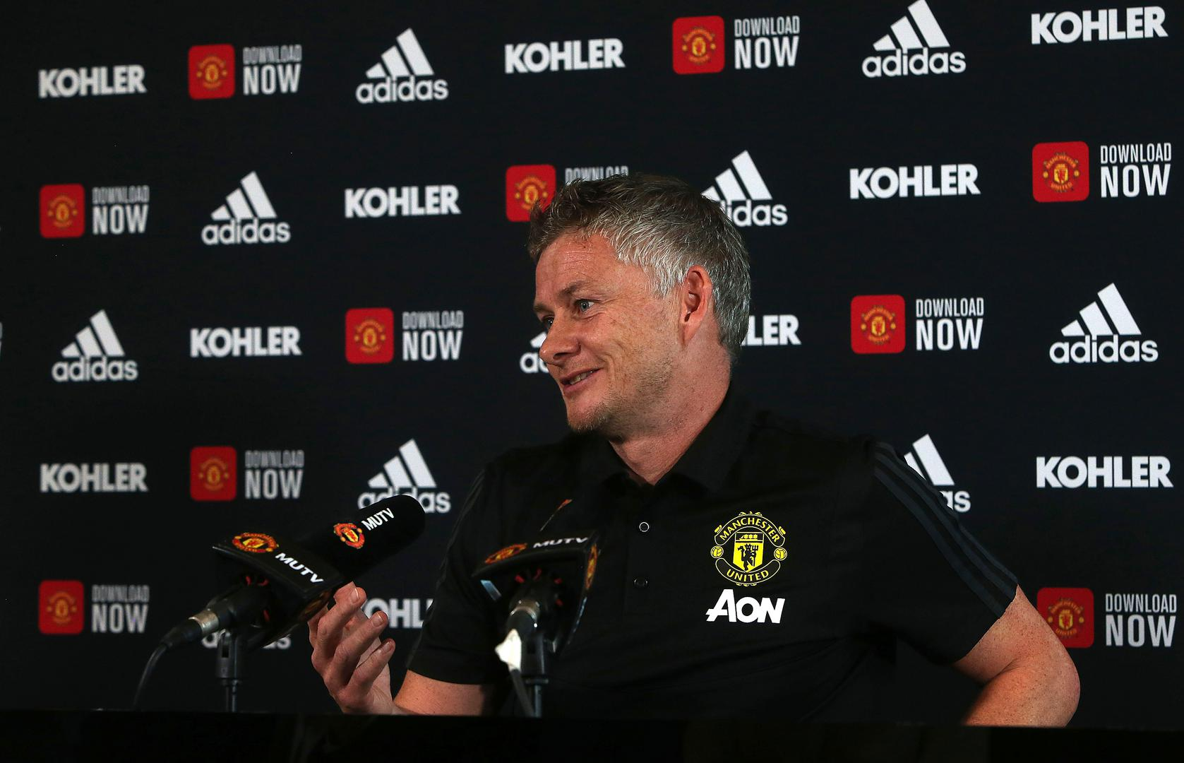 Ole Gunnar Solskjaer addresses the media at the Aon Training Complex.,