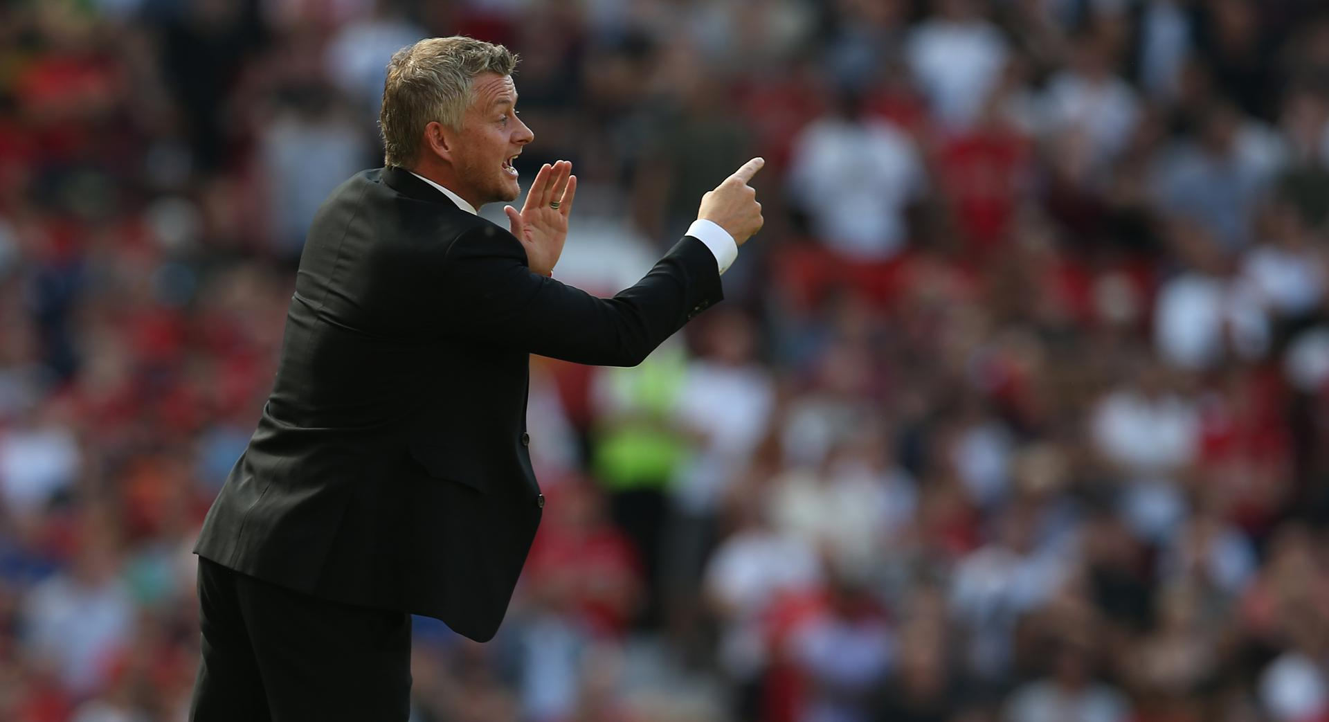 Ole Gunnar Solskjaer shouts instructions to his Manchester United players during the Premier League game against Crystal Palace at Old Trafford