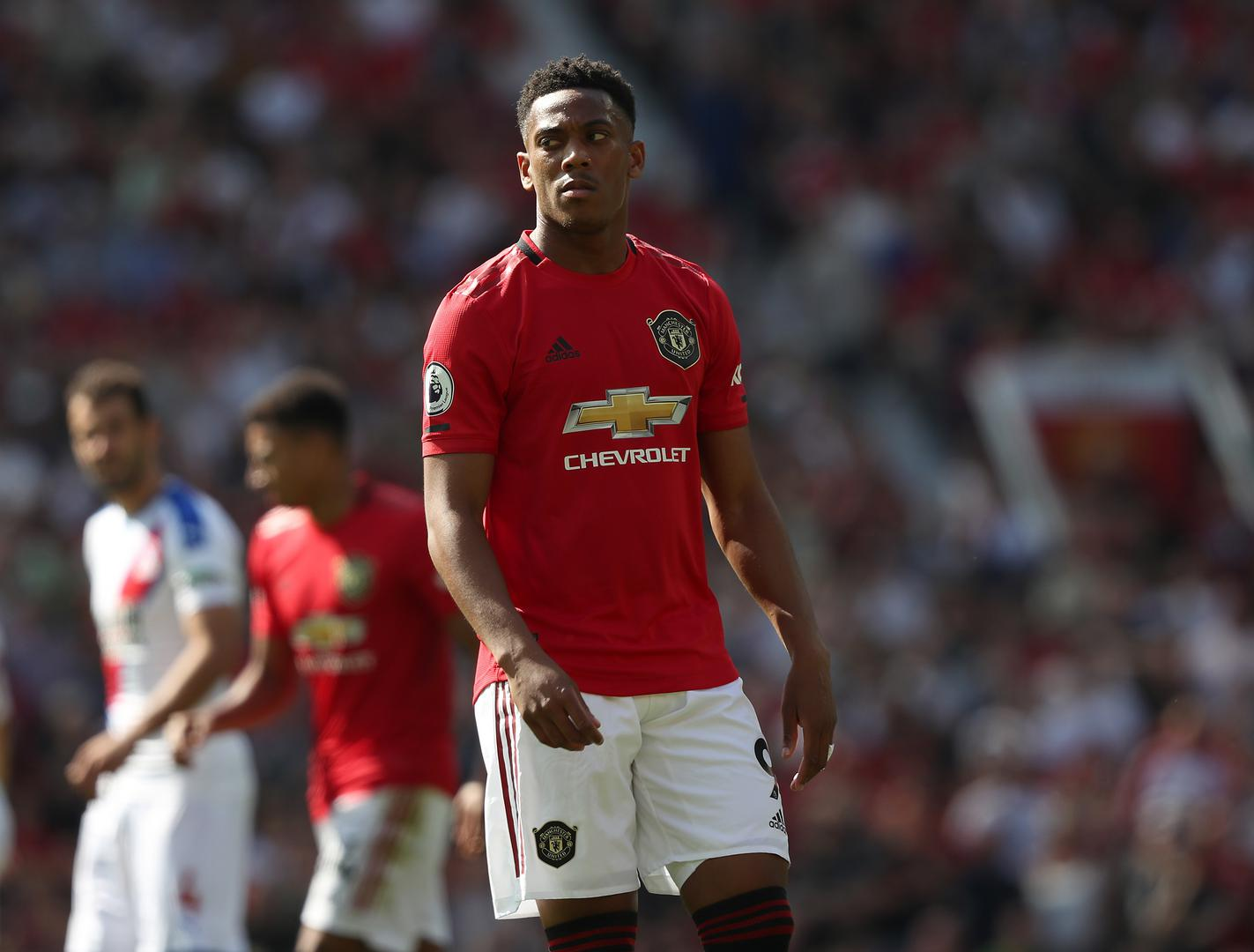 Anthony Martial looks on during the Crystal Palace match.