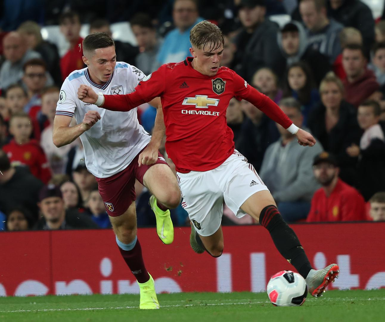 Brandon Williams playing for Manchester United Under-23s against West Ham United