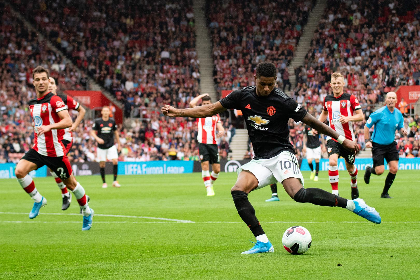 Marcus Rashford on the ball against Southampton.,