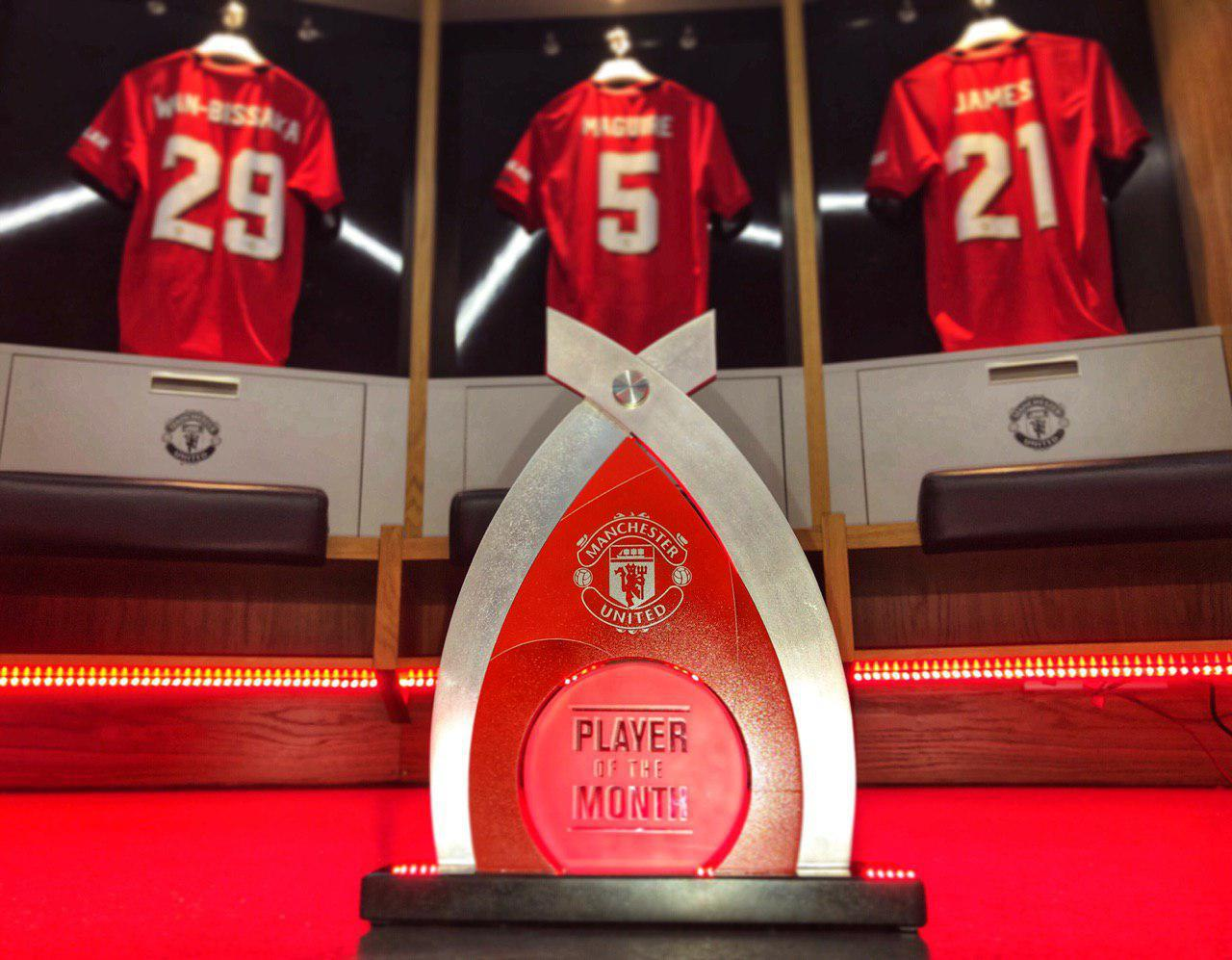 The Player of the Month trophy inside the home dressing room.,