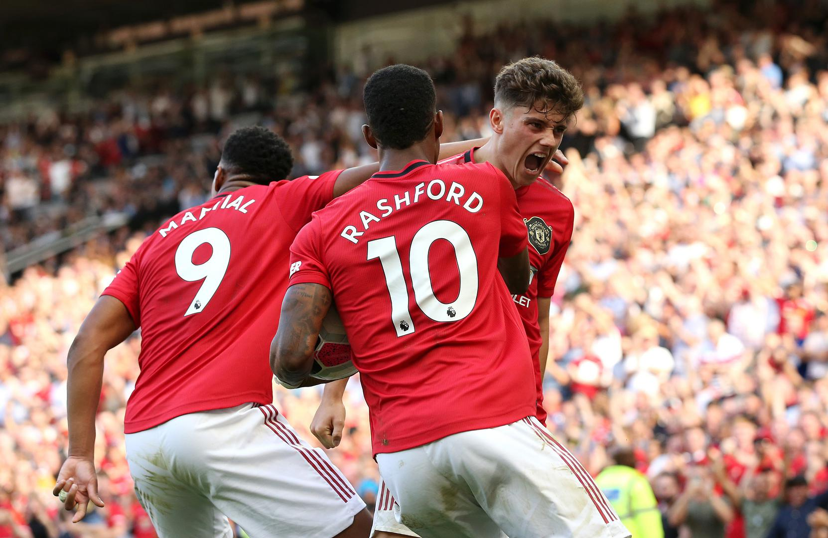 United celebrate Daniel James's goal against Leicester.