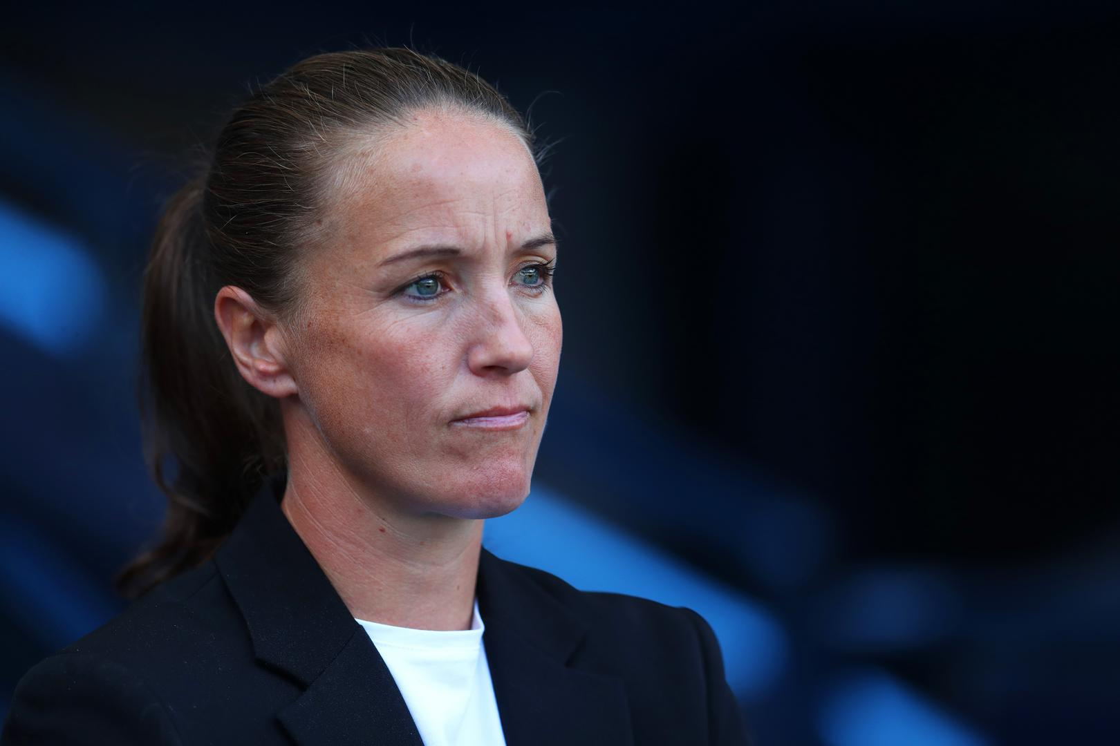 Casey Stoney deep in thought.