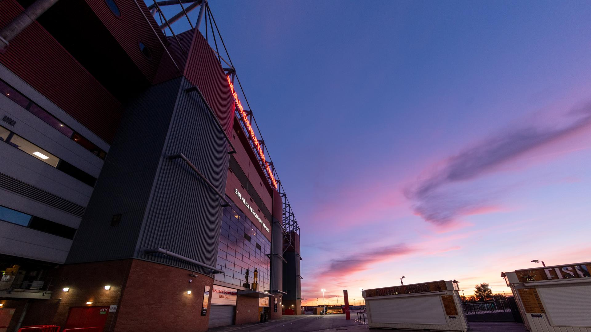 Old Trafford's Sir Alex Ferguson Stand as viewed in the early evening.