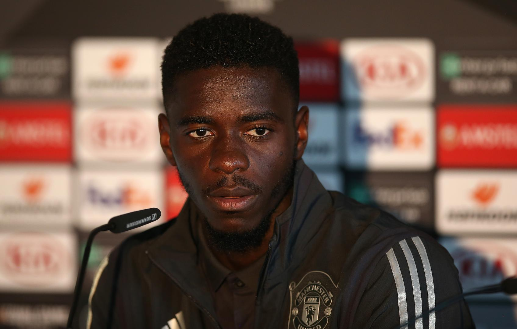 Axel Tuanzebe speaks to the press ahead of Manchester United v Astana.