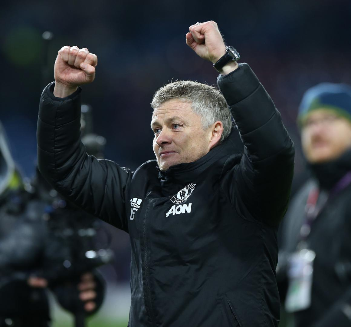 Ole Gunnar Solskjaer celebrates Manchester United's win over Burnley at Turf Moor