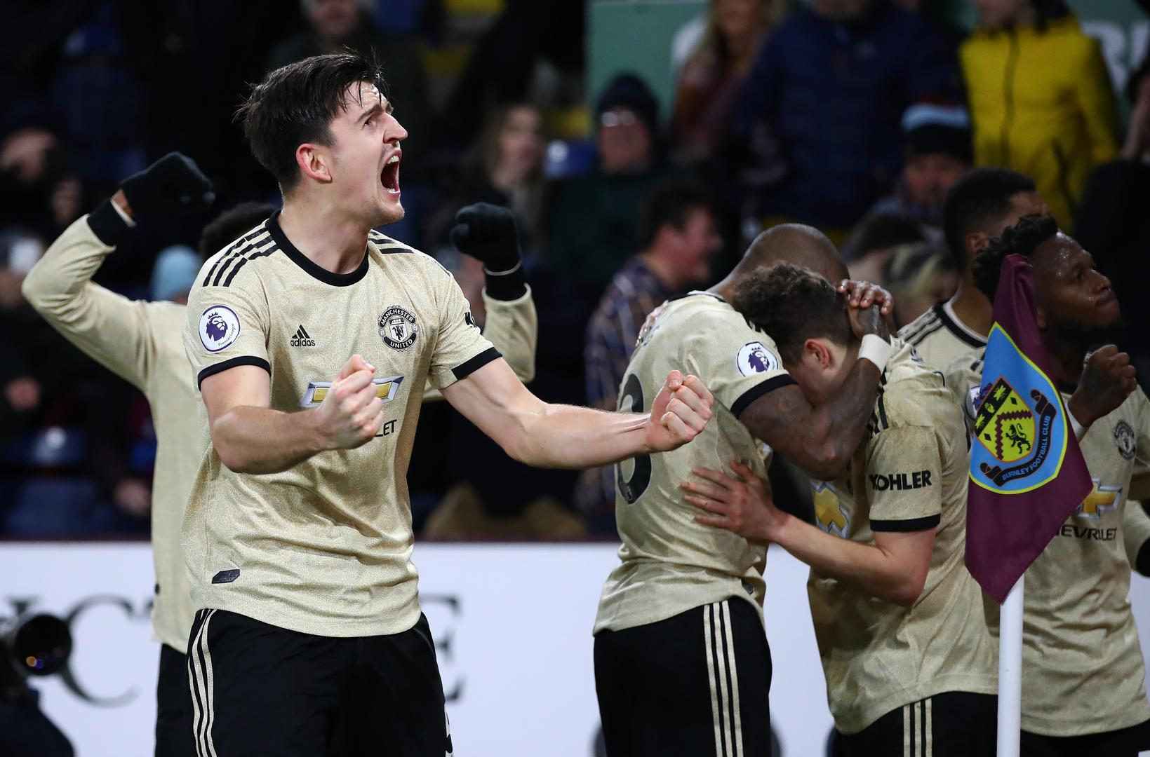 Harry Maguire celebrates a goal during Manchester United's 2-0 win at Burnley