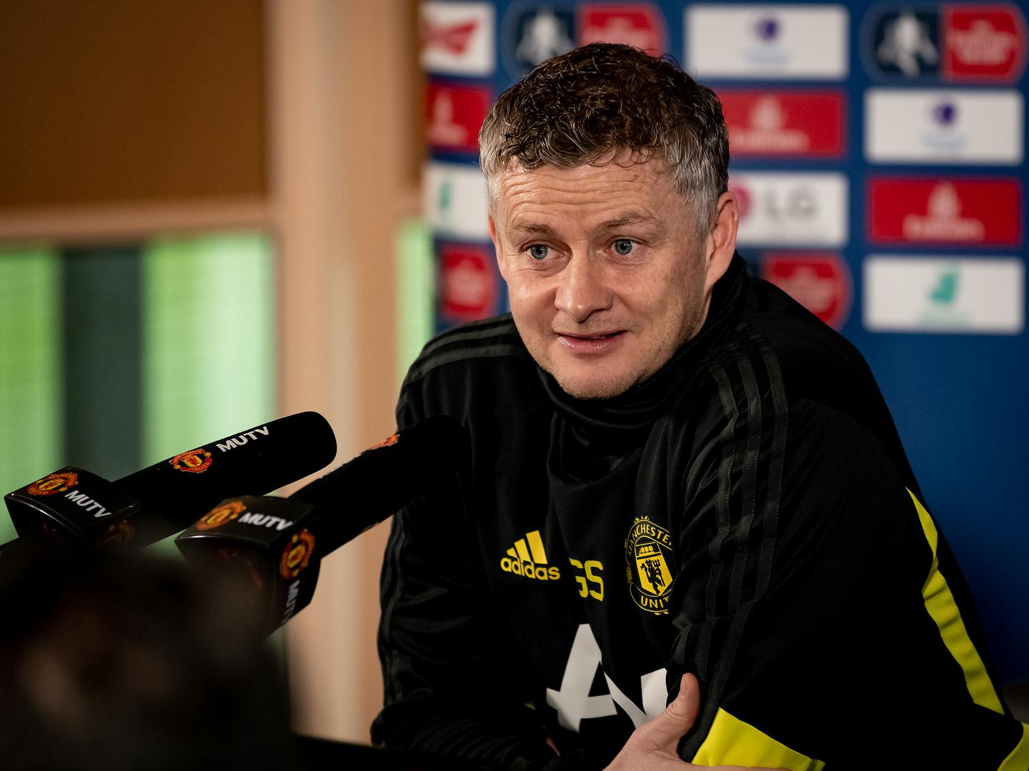 Ole Gunnar Solskjaer addresses the media.
