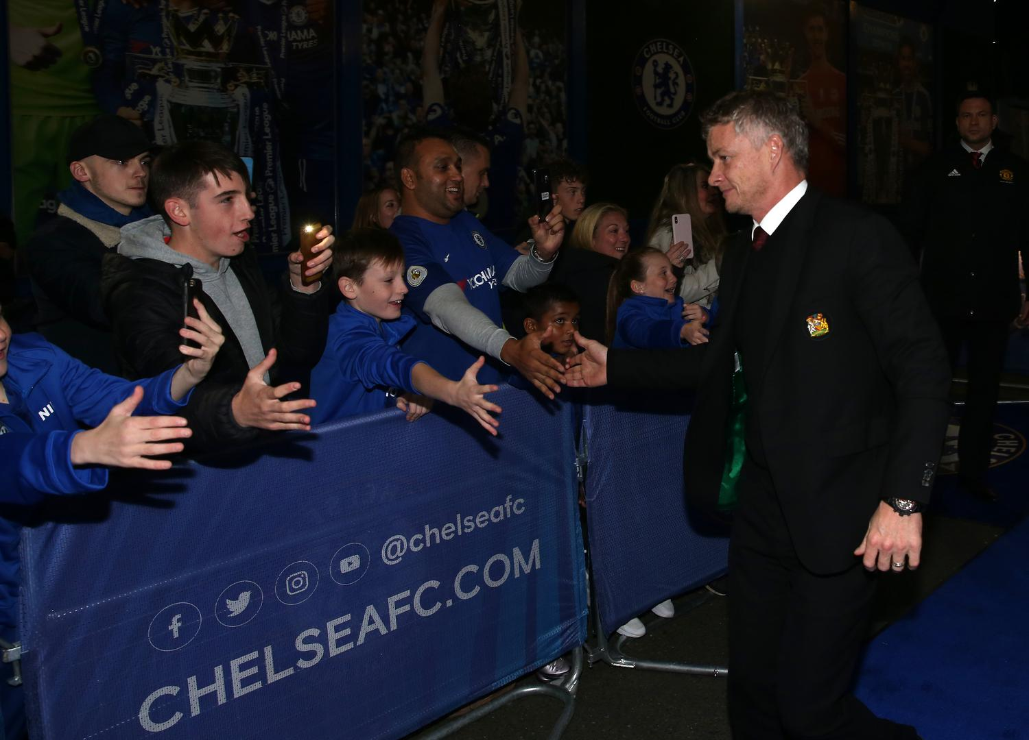 Ole Gunnar Solskjaer arrives at Stamford Bridge ahead of a game against Chelsea.