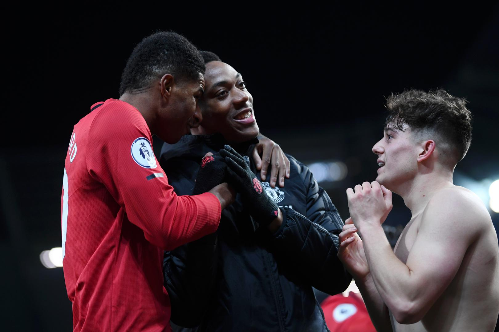 Anthony Martial with Marcus Rashford and Daniel James.