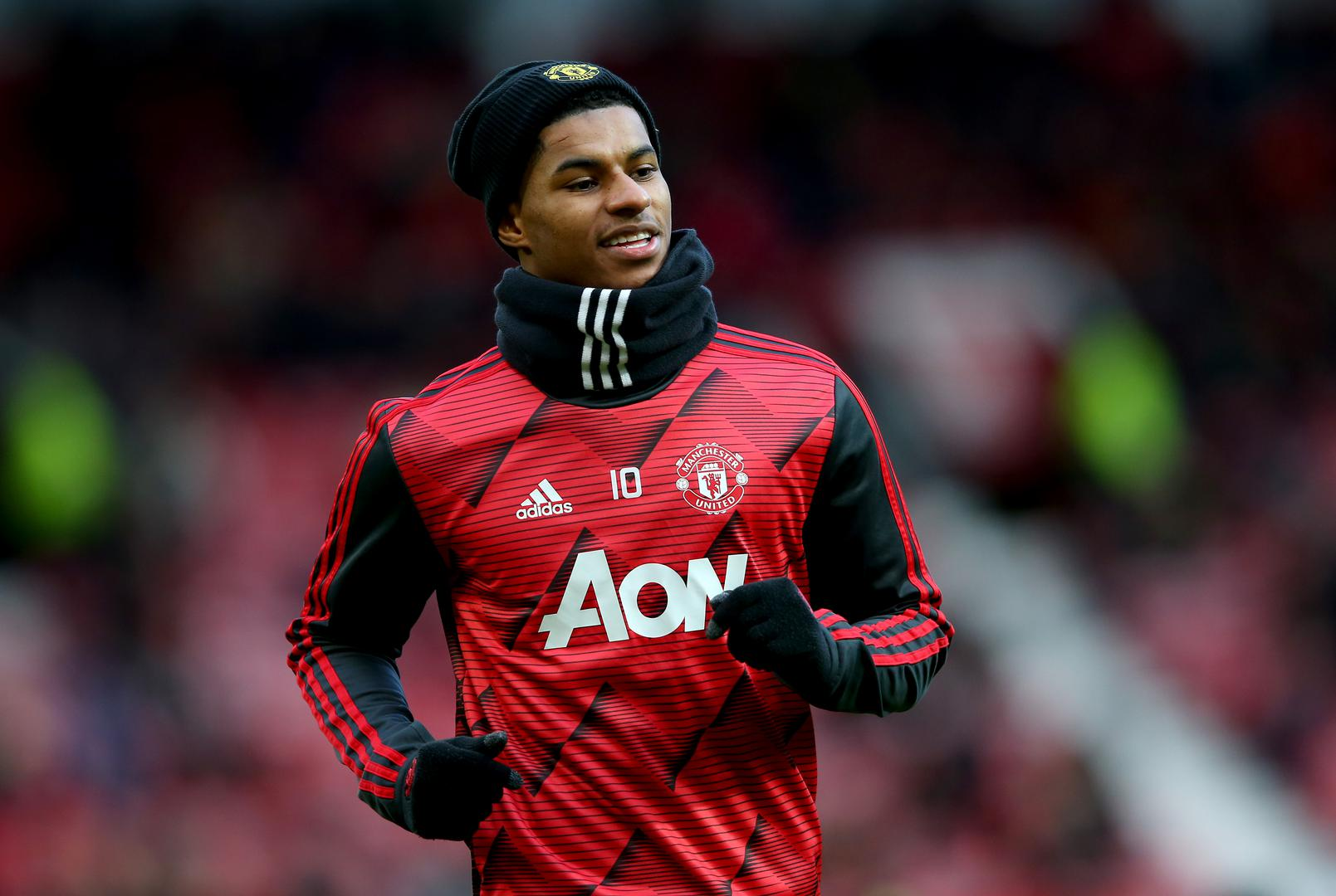 Marcus Rashford warming up for a game at Old Trafford