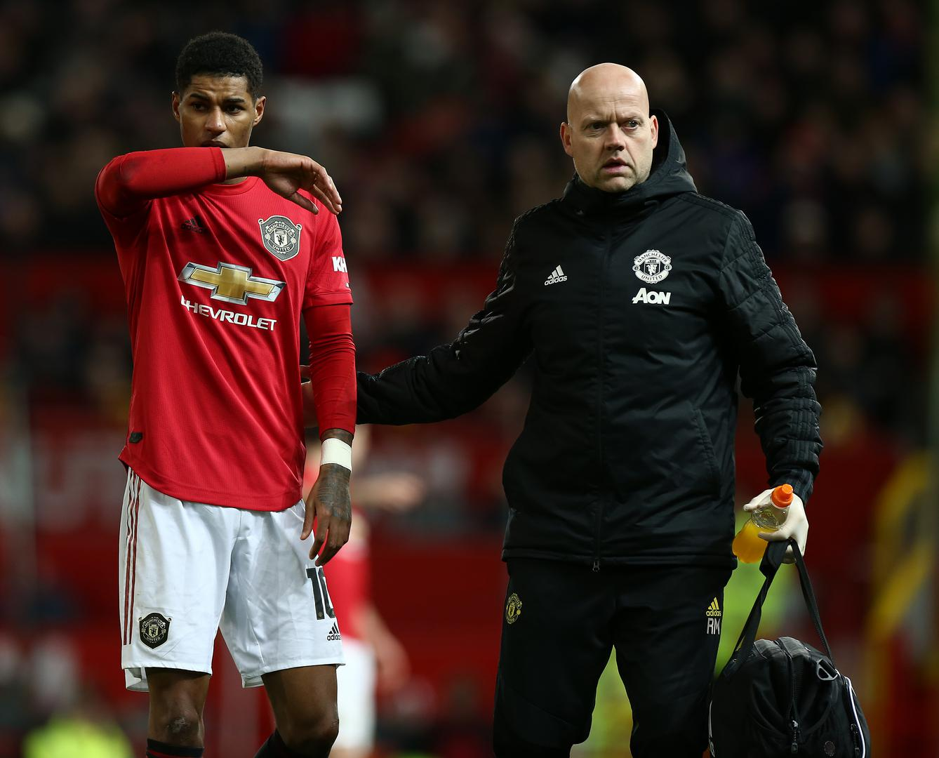 Marcus Rashford goes off injured.