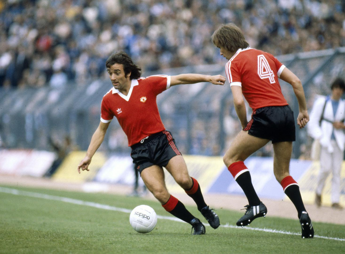 Lou Macari in action for Manchester United